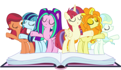 Size: 6000x3500 | Tagged: safe, artist:luckyclau, adagio dazzle, aria blaze, gloriosa daisy, moondancer, sonata dusk, vapor trail, alicorn, earth pony, pony, unicorn, fame and misfortune, alicornified, alternate universe, book, equestria girls ponified, eyes closed, flawless, flower, flower in hair, freckles, ponified, race swap, simple background, singing, transparent background