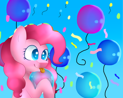 Size: 1280x1024 | Tagged: artist:wintersporkle, balloon, pinkie pie, pony, safe, solo, tongue out