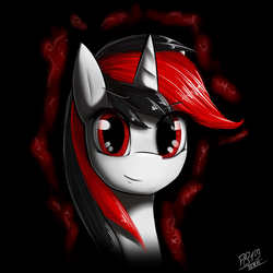 Size: 1080x1080   Tagged: source needed, safe, artist:phenya, oc, oc only, oc:blackjack, pony, unicorn, fallout equestria, fallout equestria: project horizons, black background, bust, fall out boy, fanfic art, female, looking at you, mare, portrait, red, red and black oc, red eyes, simple background, solo