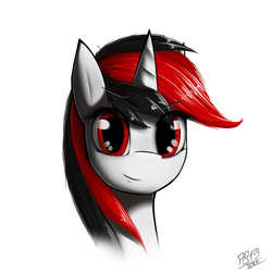 Size: 1080x1080   Tagged: source needed, safe, artist:phenya, oc, oc only, oc:blackjack, pony, unicorn, fallout equestria, bust, fall out boy, female, mare, portrait, red, red and black oc, red eyes, simple background, solo, white background