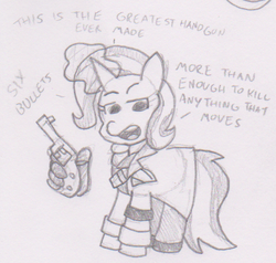 Size: 454x432 | Tagged: safe, artist:threetwotwo32232, trixie, pony, unicorn, black and white, clothes, comic, female, glowing horn, grayscale, gun, hand, handgun, hooves, horn, levitation, magic, magic hands, mare, metal gear, monochrome, newbie artist training grounds, open mouth, parody, pencil drawing, revolver, revolver ocelot, simple background, solo, teeth, telekinesis, text, traditional art, weapon, white background