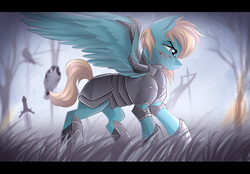 Size: 2550x1777 | Tagged: safe, artist:airiniblock, oc, oc only, pegasus, pony, armor, blood, male, rcf community, serious, serious face, solo, stallion, sword, tree, weapon, ych result