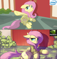 Size: 1235x1292 | Tagged: safe, artist:ramiras, edit, edited screencap, screencap, fluttershy, pegasus, pony, fame and misfortune, bottomless, clothes, comparison, dock, female, floppy ears, fluffy, frown, humor, intel, looking at you, mare, meme, nvidia, partial nudity, pc master race, plot, pointing, shadows, side, sweater, sweatershy, underhoof