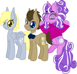 Size: 1625x1558 | Tagged: safe, artist:casanova-mew, derpy hooves, doctor whooves, screwball, time turner, pony, bisexual, bowtie, clothes, derpball, doctorderpball, doctorderpy, female, lesbian, male, older, polyamory, screwhooves, shipping, simple background, straight, sweater, transparent background