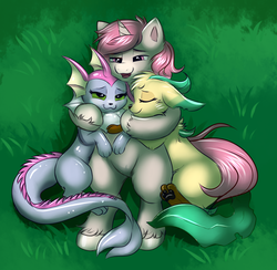 Size: 1078x1054 | Tagged: artist:ravensunart, female, leafeon, male, oc, oc:intrepid charm, oc:trail, pokémon, pony, safe, snuggling, stallion, straight, unicorn, vaporeon