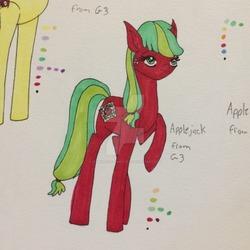 Size: 1024x1024   Tagged: safe, artist:sparklerofequestria, apple spice, applejack (g3), pony, g3, female, solo, traditional art, watermark
