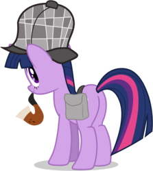 Size: 3310x3710 | Tagged: safe, artist:tomfraggle, twilight sparkle, pony, unicorn, mmmystery on the friendship express, deerstalker, female, hat, high res, mare, pipe, plot, saddle bag, simple background, solo, transparent background, vector