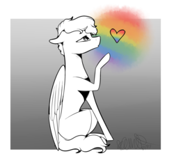 Size: 2533x2369 | Tagged: safe, artist:sweetmelon556, oc, oc only, oc:aarushi, pegasus, pony, female, heart, high res, mare, partial color, rainbow, sitting, solo