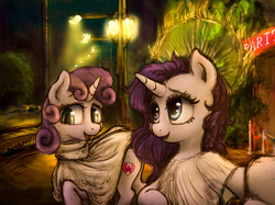 Size: 3867x2900 | Tagged: safe, artist:plotcore, rarity, sweetie belle, pony, unicorn, atg 2017, clothes, female, mare, newbie artist training grounds, night, smiling, streetlight
