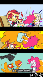 Size: 400x727 | Tagged: safe, artist:rvceric, pinkie pie, sunset shimmer, inkling, eqg summertime shorts, equestria girls, the art of friendship, canvas, clothes, comic, disintegration, jacket, oops, paint can, painting, skirt, splatoon