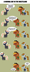 Size: 1716x4137   Tagged: safe, artist:aborrozakale, oc, oc only, oc:calamity, oc:littlepip, oc:velvet remedy, pegasus, pony, unicorn, fallout equestria, battle saddle, clothes, comic, fanfic, fanfic art, female, gun, hat, horn, lisa the painful, male, mare, open mouth, pipbuck, pointy ponies, rifle, simple background, smiling, stallion, text, translation, vault suit, weapon, wings