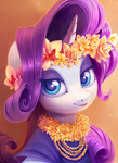 Size: 800x1100 | Tagged: artist:sorcerushorserus, beautiful, bust, eyeshadow, female, floral head wreath, flower, flower in hair, hawaiian, hawaiian flower in hair, looking at you, makeup, mare, pony, portrait, rarity, safe, smiling, solo, unicorn