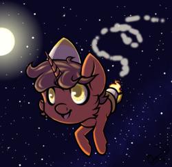 Size: 932x902 | Tagged: safe, artist:ombraniwolf, oc, oc only, oc:digital sketch, pony, rocket pony, moon, sky, smiling, stars