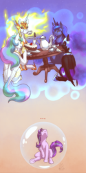 Size: 1350x2700 | Tagged: safe, artist:mykegreywolf, daybreaker, nightmare moon, princess celestia, princess luna, starlight glimmer, alicorn, pony, a royal problem, ..., bubble, cake, clothes, crown, cup, dream, duality, everything went better than expected, female, food, force field, helmet, jewelry, levitation, looking up, magic, mare, regalia, royal sisters, smiling, tea party, teacup, teapot, telekinesis, uniform