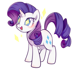 Size: 1116x997 | Tagged: safe, artist:haden-2375, rarity, pony, unicorn, cute, female, mare, open mouth, raribetes, simple background, smiling, solo, wingding eyes