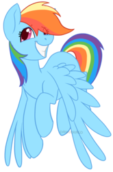 Size: 658x1000 | Tagged: safe, artist:darkodraco, rainbow dash, pegasus, pony, female, grin, looking away, mare, simple background, smiling, solo, spread wings, transparent background, wings