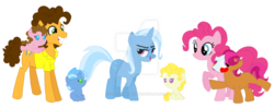 Size: 1024x405 | Tagged: safe, artist:hateful-minds, cheese sandwich, pinkie pie, trixie, oc, pony, cheese sandwich gets all the mares, cheesepie, cheesetrixpie, cheesixie, female, lesbian, male, polyamory, shipping, straight, trixiepie