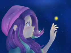 Size: 1600x1200 | Tagged: artist:rmariansj, beanie, equestria girls, firefly (insect), human coloration, night, safe, solo, starlight glimmer