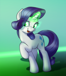 Size: 700x800 | Tagged: safe, artist:klemm, rarity, pony, unicorn, inspiration manifestation, atg 2017, female, glowing horn, green, inspirarity, mare, newbie artist training grounds, open mouth, possessed, raised hoof, simple background, smiling, solo