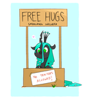 Size: 950x1100 | Tagged: safe, artist:grim ponka, queen chrysalis, changeling, changeling queen, blushing, cute, cutealis, female, floppy ears, free hugs, heart, newbie artist training grounds, sign, smiling, solo, style emulation
