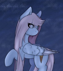 Size: 2476x2800 | Tagged: safe, artist:syntiset, oc, oc only, pegasus, pony, cutie mark, female, mare, night, night sky, sky, smiling, solo, stars, wings