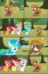Size: 4551x7001 | Tagged: absurd res, alicorn, apple, apple bloom, apple tree, artist:cyanlightning, buttoncorn, button mash, colt, comic, comic:cyan's adventure, cutie mark crusaders, earth pony, female, filly, food, king button mash, male, oc, oc:cyan lightning, pegasus, pony, safe, scootaloo, .svg available, sweetie belle, tree, unicorn, vector