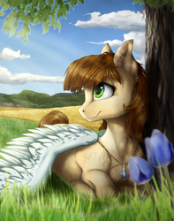 Size: 4417x5596 | Tagged: safe, artist:gaelledragons, oc, oc only, pegasus, pony, absurd resolution, cloud, female, flower, grass, mare, outdoors, prone, scenery, sky, smiling, solo, tree