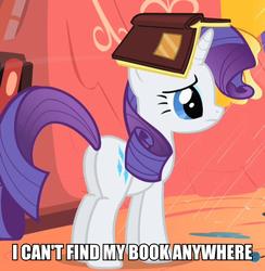 Size: 567x582 | Tagged: safe, edit, edited screencap, screencap, rarity, pony, unicorn, look before you sleep, book, book hat, butt, cropped, cute, female, image macro, meme, plot, rarara, raribetes, silly, silly pony, solo