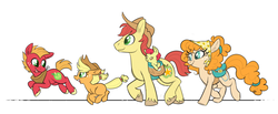 Size: 1800x741 | Tagged: apple bloom, apple family, applejack, artist:ponygoggles, baby, baby pony, big macintosh, blank flank, brightbutter, bright mac, colt, colt big macintosh, cowboy hat, cute, earth pony, family, female, filly, filly applejack, foal, galloping, hat, male, mare, pear butter, pony, saddle bag, safe, shipping, simple background, stallion, straight, the perfect pear, unshorn fetlocks, white background, younger
