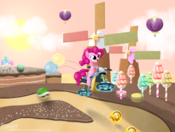 Size: 2000x1500 | Tagged: safe, artist:songbirdserenade, pinkie pie, pony, balloon, cake, coin, crossover, female, food, green shell, mare, mario kart, solo, super mario bros., wafer, windmill