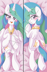Size: 1355x2084 | Tagged: safe, artist:pearlyiridescence, princess celestia, alicorn, pony, adorasexy, bed, blushing, body pillow, body pillow design, both cutie marks, cute, cutelestia, featureless crotch, female, heart eyes, looking at you, looking back, mare, merchandise, missing accessory, multicolored mane, multicolored tail, on back, open mouth, plot, praise the sun, purple eyes, regalia, royalty, sexy, smiling, solo, stupid sexy celestia, sunbutt, underhoof, watermark, wingding eyes, wings