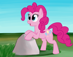 Size: 861x668 | Tagged: artist:itsthinking, derpibooru exclusive, female, pinkie pie, pony, rock, safe, simple background, smiling, solo
