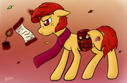 Size: 1385x911   Tagged: safe, artist:zephyr!, oc, oc only, oc:autumn colors, pony, unicorn, autumn, clothes, floppy ears, flower, freckles, gradient background, leaf, leaves, magic, male, saddle bag, scarf, scroll, simple background, solo, stallion, standing, wind, windswept mane