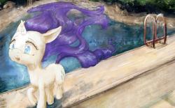 Size: 4000x2476 | Tagged: safe, artist:plotcore, rarity, pony, unicorn, atg 2017, female, long mane, mare, newbie artist training grounds, open mouth, outdoors, raised hoof, running, solo, swimming pool, three quarter view, trotting, windswept mane