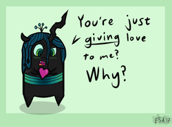 Size: 536x396 | Tagged: artist:evan555alpha, blushing, chibi, confused, cute, derpibooru exclusive, dialogue, female, heart, queen chrysalis, safe, simple background, solo