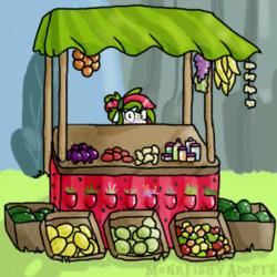 Size: 400x400 | Tagged: safe, artist:monkfishyadopts, oc, oc only, oc:watermelana, pony, rainbow falls, apple, blushing, food, fruit, fruit stand, garlic, grapes, herbs, lemon, lime, melon, onion, orange, potato, shop, shy, solo, stall, tomato, vitamins, watermelon