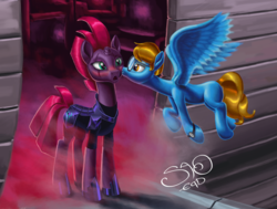 Size: 4098x3096 | Tagged: source needed, safe, artist:saoeqd, tempest shadow, oc, oc:blaine, pegasus, pony, unicorn, my little pony: the movie, airship, armor, blushing, broken horn, canon x oc, cheek kiss, eye scar, female, flying, fog, glasses, kissing, male, mare, open mouth, scar, spread wings, stallion, straight, watch, wings