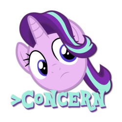 Size: 1220x1220 | Tagged: safe, artist:ljdamz1119, starlight glimmer, pony, fame and misfortune, caption, concern, concerned, female, greentext, mare, reaction, simple background, solo, text, transparent background, vector