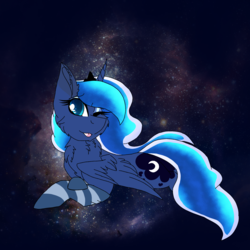 Size: 2560x2560 | Tagged: alicorn, artist:brokensilence, chest fluff, clothes, ethereal mane, eyeshadow, laying down, makeup, one eye closed, pony, princess luna, prone, safe, simple background, socks, solo, space, striped socks, tongue out, wink