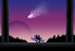 Size: 1845x1255 | Tagged: alicorn, artist:chiptunebrony, atg 2017, atmospheric, glowing eyes, mountain, newbie artist training grounds, night, nightmare moon, night sky, pillar, planet, pony, safe, shooting star, silhouette, sky, space, temple