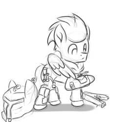 Size: 2007x2000 | Tagged: safe, artist:qbellas, soarin', pony, crossover, sketch, solo, titanfall, wing hands