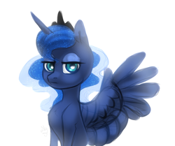 Size: 1087x908 | Tagged: alicorn, artist:spirit-alu, female, lidded eyes, looking at you, mare, pony, princess luna, safe, simple background, solo