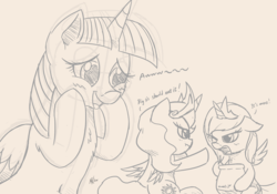 Size: 2300x1610 | Tagged: alicorn, artist:j24262756, atg 2017, blushing, chest fluff, cute, female, filly, mare, monochrome, natg, pony, princess celestia, princess luna, safe, sketch, twilight sparkle, twilight sparkle (alicorn), younger