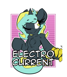 Size: 2100x2400 | Tagged: safe, artist:bbsartboutique, oc, oc only, oc:electro current, unicorn, badge, con badge, digital multimeter, holding hands, looking at each other, one eye closed, text