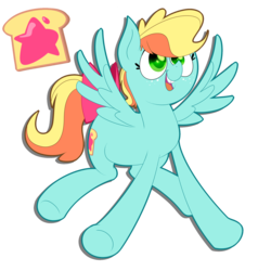Size: 2743x2743 | Tagged: artist:supercoco142, female, high res, magical lesbian spawn, mare, oc, oc:apple jam, oc only, offspring, parent:applejack, parent:rainbow dash, parents:appledash, pegasus, pony, safe, simple background, solo, transparent background