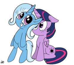 Size: 1000x886 | Tagged: alicorn, artist:daniel-sg, artist:wallkick, bipedal, female, floppy ears, grin, horns are touching, inconvenient trixie, mare, pony, safe, sitting, smiling, trixie, twilight is not amused, twilight sparkle, twilight sparkle (alicorn), unamused