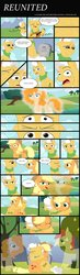 Size: 1280x4362   Tagged: safe, artist:faitheverlasting, applejack, bright mac, grand pear, pear butter, earth pony, pony, the perfect pear, :t, bittersweet, comic, crying, eyes closed, family, feels, female, floppy ears, frown, grandparent and grandchild moment, gravestone, hug, lidded eyes, male, mare, raised eyebrow, raised hoof, right in the feels, sad, sad smile, stallion, tears of joy, the feels, wide eyes