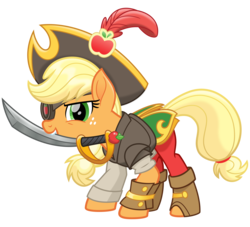 Size: 3300x3000 | Tagged: safe, artist:cheezedoodle96, applejack, earth pony, pony, my little pony: the movie, .svg available, action pose, armor, badass, belt, boots, bracer, clothes, crouching, evil grin, eyepatch, feather, female, giant hat, grin, hat, leather armor, lidded eyes, mare, pants, pirate, pirate applejack, pirate costume, pirate hat, scimitar, shirt, shoes, simple background, smiling, smirk, solo, svg, sword, transparent background, vector, weapon
