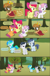 Size: 4553x7001 | Tagged: absurd res, alicorn, apple, apple bloom, apple bloom's bow, apple tree, artist:cyanlightning, bow, buttoncorn, button mash, colt, comic, comic:cyan's adventure, crown, cutie mark, cutie mark crusaders, earth pony, eclair, female, filly, food, hair bow, happy, jewelry, king button mash, male, nervous, oc, oc:cyan lightning, pegasus, pony, regalia, rule 63, rumble, safe, scootaloo, shady daze, sitting, .svg available, sweetie belle, tree, unicorn, vector