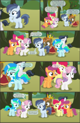 Size: 4551x7001 | Tagged: absurd res, alicorn, apple, apple bloom, apple tree, artist:cyanlightning, buttoncorn, button mash, colt, comic, comic:cyan's adventure, cutie mark crusaders, earth pony, female, filly, food, king button mash, male, oc, oc:cyan lightning, pegasus, pony, rule 63, rumble, safe, scootaloo, shady daze, .svg available, sweetie belle, tree, unicorn, vector